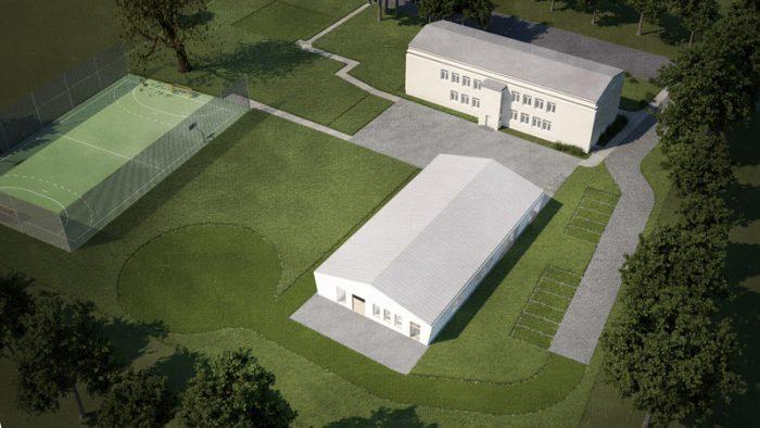 widok przedszkola i szkoły z góry